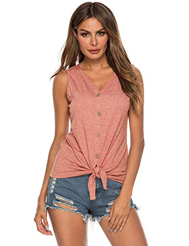 Naivikid Womens Button Down Tank Tops Tie Knot Casual Knit Sleeveless Henley Shirts Summer Blouse Orange S