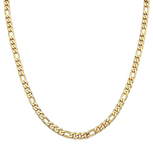 Gold Jewelry Collection (Dubai Collections Figaro 24k Chain Necklace Men's/Women Jewelry 5mm 22-28inch (22))