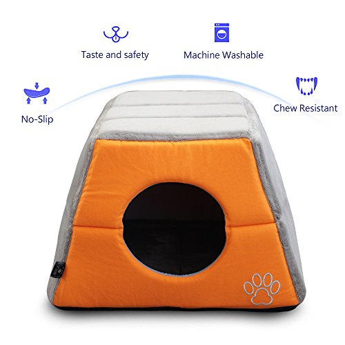 - Cat or Dog Bed Easy-to-Clean, 100% Machine Washable (orange)