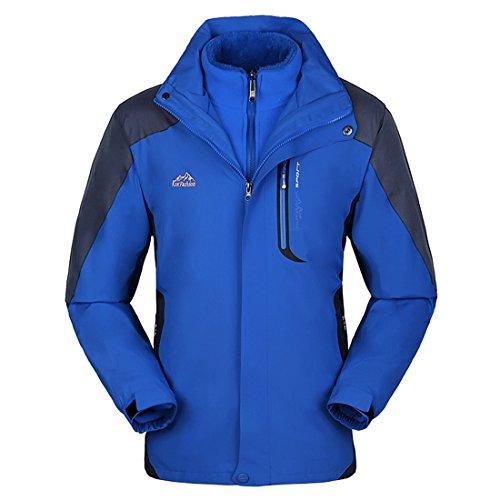 KAISIKE Women's Windproof Softshell Fleece Ski Jacket 3 in 1 Outdoor Sports Coat(W168/Light Blue-L)