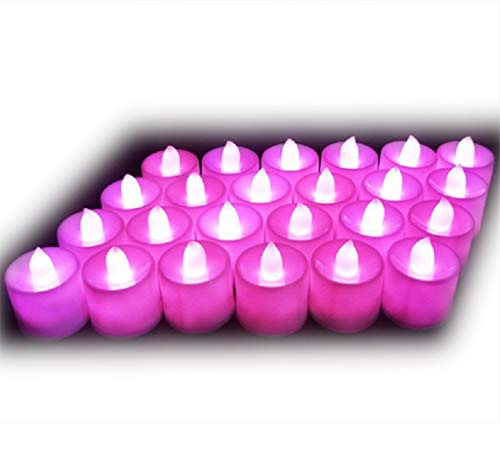 Little bees 24Pcs Electric LED Tealight Bright Mood Candle Realistic Battery Operated Tealight Wedding Party Confession Festival Decoration Fake Candle (Pink)