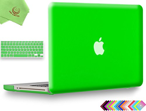"""UESWILL 2in1 Smooth Soft-Touch Matte Frosted Hard Shell Case with Silicone Keyboard Cover for MacBook Pro 13"""" with CD-ROM (Non-Retina)(Model:A1278)+ Microfibre Cleaning Cloth, Deep Green"""