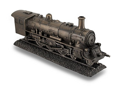 (Resin Statues Bronze Finish Steam Locomotive Engine Statue Incredibly Detailed Train 10.5 X 4.5 X 2.5 Inches Bronze)