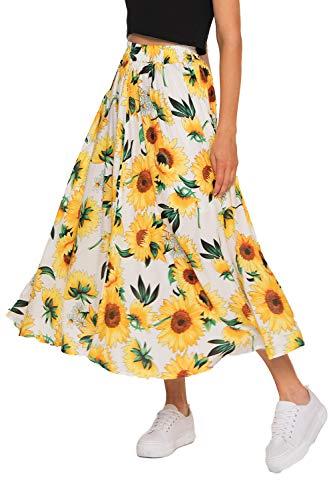 MaxiSkirt forWomen - Long Floral Skirt Great for Travel, Beach, Cocktail or Party (L, White Sunflower Skirt)