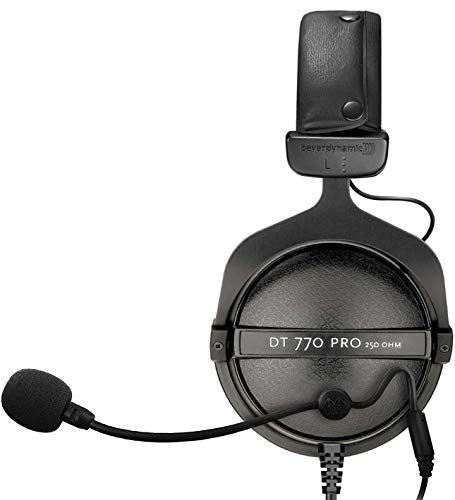 Beyerdynamic DT 770 Pro 250 Ohm Closed Back Studio Headphone Bundle with Antlion Audio ModMic Attachable Boom Microphone - Noise Cancelling with Mute Switch and Blucoil Y Splitter