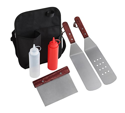 Grilljoy 6 Piece Professional Grade Stainless Steel Grill Griddle BBQ Tool Kit with Belt Bag - Perfect for Flat Top Cooking, Camping and Tailgatin