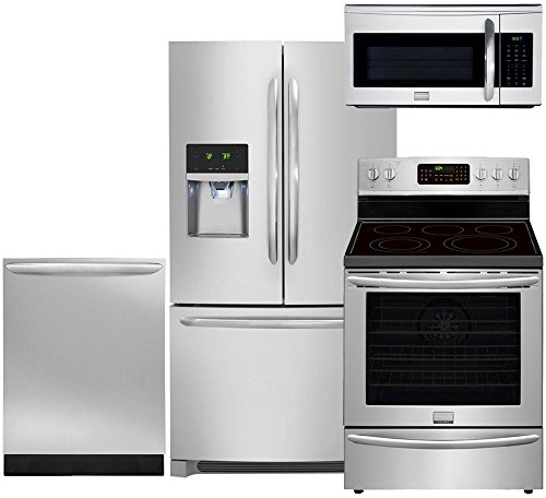 Electric French Door Refrigerator - Frigidaire 4-Piece Smudge Proof Stainless Steel Set with FGHF2366PF 36
