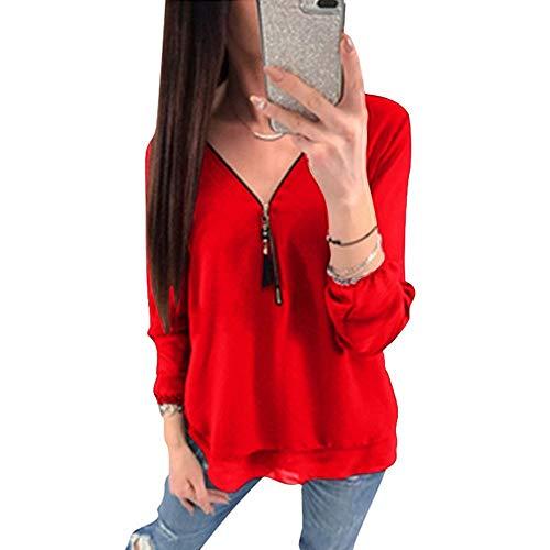 Dos Nu Crois Chic Zipp Mousseline Longue Col V Blouse Haut Manches ASSKDAN de Tunique Rouge Te Soie Femme Chemisier Tops Shirt qU7wUOPAx