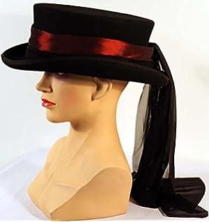 16239e8708e Steampunk-Halloween-Gothic-Whitby-Victorian DEEP RED TAFFETTA HAT BAND    BLACK
