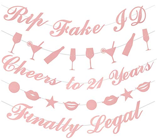 hday Decorations Party Supplies | 21st Birthday Decorations | Pack of Unique 5 Banners - 'Rip Fake ID - 'Cheers to 21 Years - 'Finally Legal' and 2 Banners with Funky Shapes ()