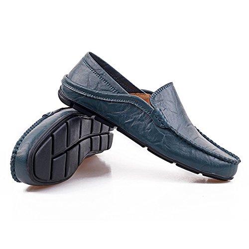Mocasines De Cuero Para Hombre Fisca Slip-on Zapatillas De Deslizamiento Flat Blue