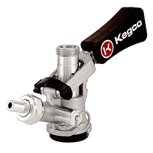 Kegco KC KTS97D-W D System Keg Tap with Black Lever Click Handle, Stainless Steel