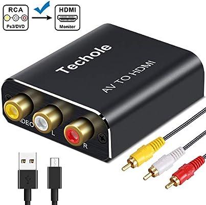 RCA a HDMI, Techole Aluminio 3 RCA Compuestas AV a HDMI Converter ...
