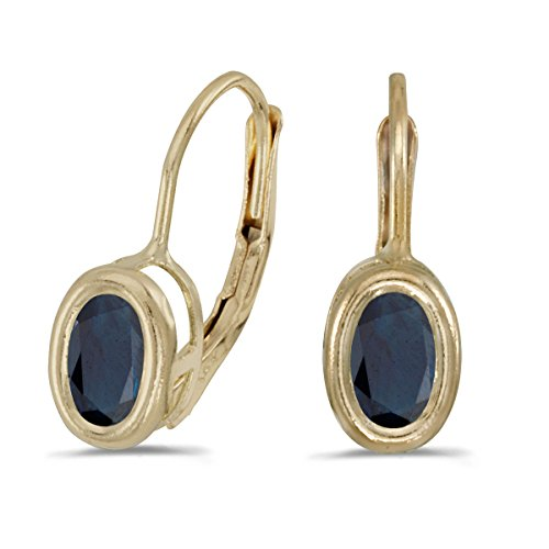 14k Yellow Gold Oval Sapphire Bezel Lever-back Earrings by Direct-Jewelry