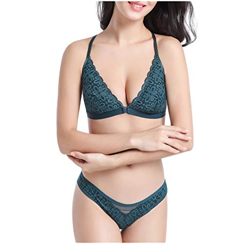 Woman Fashion Bras Set Thin Section Comfortable Sexy Type Y Lace Underwear Green