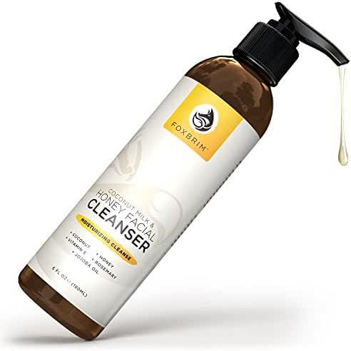 Coconut Milk & Honey Face Cleanser - Natural & Organic - Gently Wash and Renew Skin While Moisturizing - With Soothing Organic Aloe, Hydrating Coconut Milk and Purifying Honey Gel - Foxbrim 6OZ