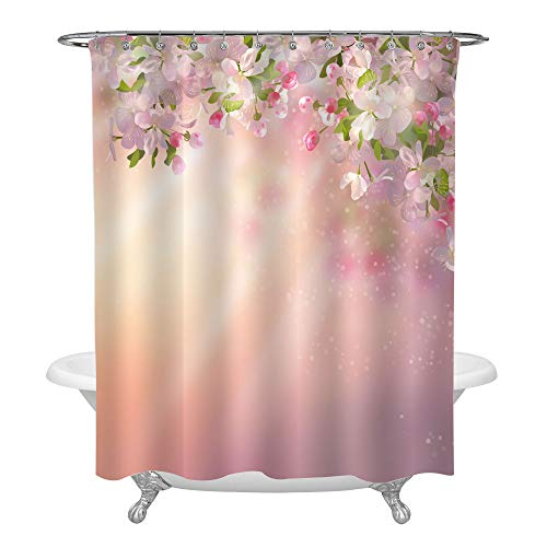 Spring Apple Blossom Bathroom Shower Curtain for Women, Blooming Tree Branch and Flower with Blur Springtime Sun Light Background, Water Resistant Fabric Bathroom Accessories, Pink Green, 72