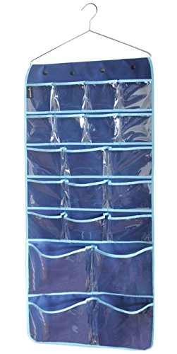 MISSLO Hanging Closet Dual-Sided Organizer Bra Underwear Socks Jewelry Storage 42 Pockets, Blue