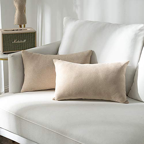 Stellhome Pack of 2 Cozy Throw Pillow Covers Rectangle Set Solid Pillowcase for Bed Couch Sofa Bench, 12 x 20 inch (30 x 50 cm), ()