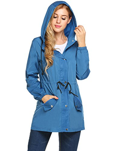 Trench Blue Coat - UNibelle Women Raincoat Lightweight Hooded Rain Jacket Outdoor Active Windbreaker Waterproof Trench Coats S-XXL