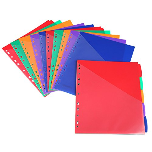 Insertable Plastic Dividers,Binders Dividers with Pockets & tabs,5-Tab Set, Multi-Color,Pack of 3 - Dividers Multi 5 Tab