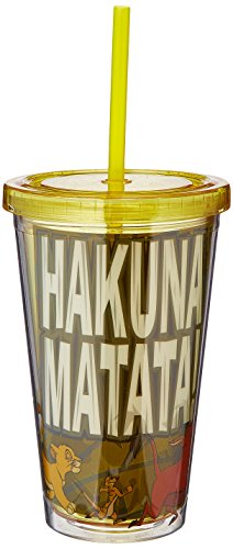 "Disney Silver Buffalo LK52087 Disney Lion King ""Hakuna Matata"" Plastic Cold Cup, 16 oz, Multicolor"