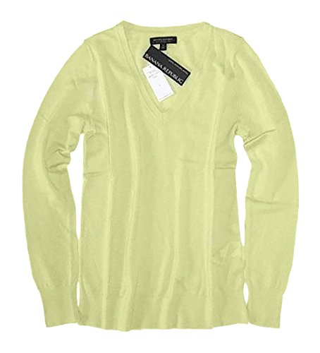 Banana Republic Women's - Chartreuse Merino Wool V-Neck Sweater (Small, Chartreuse) -