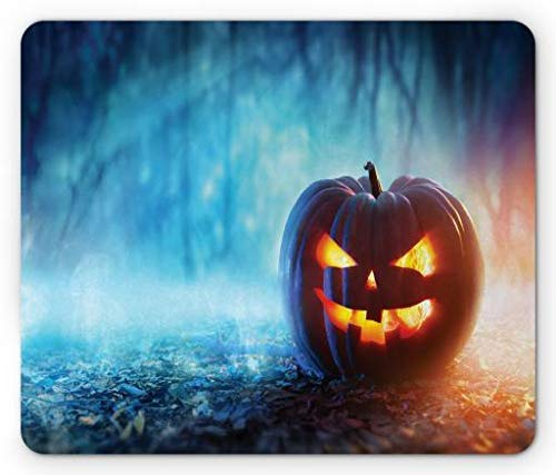 (Halloween Mouse Pad, Creepy Alone Halloween Pumpkin Mystic Forest at Night, Standard Size Rectangle Non-Slip Rubber Mousepad, Burnt Orange Burnt Sienna and Sky Blue,8.66 x 7.08 x 0.118)