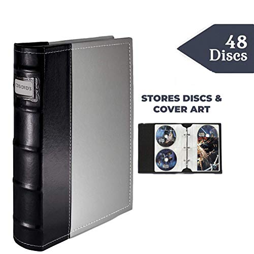 DVD Storage Binder, Gray- CD/DVD Case Stores Up to 48 DVDs, CDs, or Blu-Rays - DVD Holder Sheets Store Cover Art - Acid-Free Sheets ()