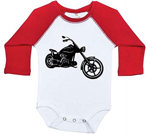 - Harley Davidson Baby Outfit/Motorcycle Raglan Onesie/Newborn Bodysuit (0-3M, RED)