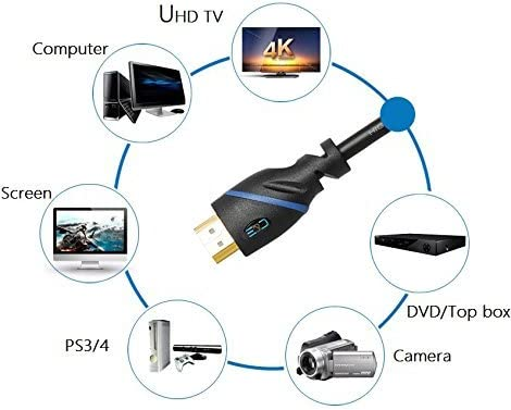 Supports 4K 30Hz 1080p and Audio Return CNE528915 Built-in Signal Booster High Speed HDMI Cable Male to Male with Ethernet Black 75ft 22.8M 3D 75 Feet//22.8 Meters