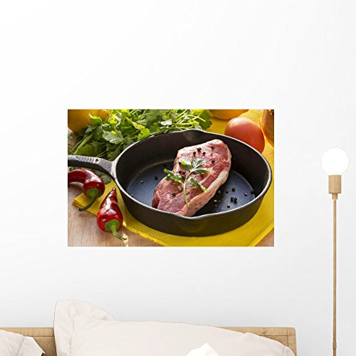 Wallmonkeys FOT-81360863-18 WM128238 Raw Steak in a Cast Iron Pan and Assorted Vegetable Ingredients Peel and Stick Wall Decals (18 in W x 12 in H), Small ()