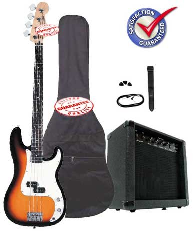 ELECTRIC BASS PACK WITH 20 WATTS AMP SUNBURST
