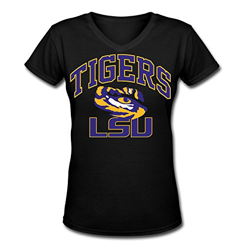 Women's LSU Tigers 100% Cotton V Neck Short Sleeve T-Shirt Black US Size - Sun Winnipeg Online