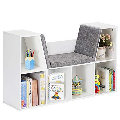 Costzon 6-Cubby Kids Bookcase w/Cushioned Reading Nook, Multi-Purpose Storage Organizer Cabinet Shelf for Children Girls & Boys Bedroom Decor Room (White)
