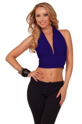 Cropped Halter Open V-Neck Backless Back Tie Sexy Evening Clubwear Party Top