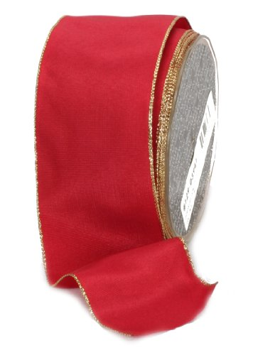 Ampelco Ribbon Company Gold Wired 27-Yard Taffeta Ribbon, 2.5-Inch, Scarlet
