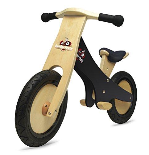 KinderfeetsClassic Chalkboard Wooden Balance Bike, Kids Training No Pedal Balance Bike, Black