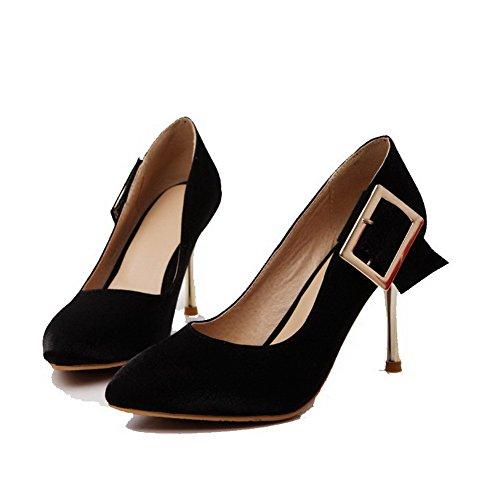 VogueZone009 Damen Hoher Absatz Weiches Material Rein Ziehen auf Spitz Zehe Pumps Schuhe Schwarz