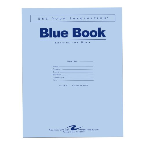 Roaring Spring Blue Exam Book  11 X 8 5 Inches  8 Sheets  Full Case With 50 Booklets  77517