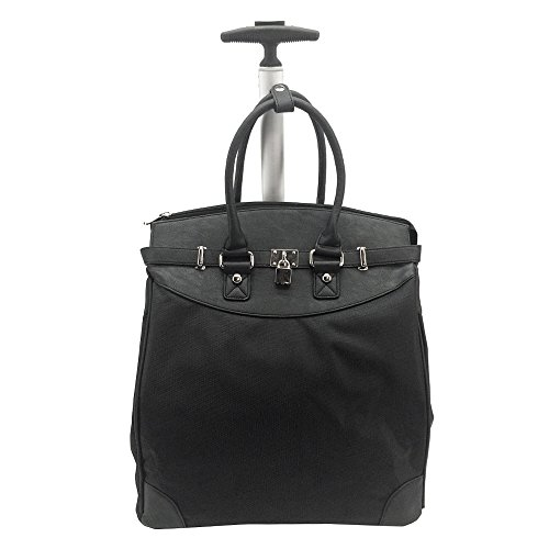 Solid Rolling 14-inch Laptop Travel Tote Black ()