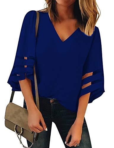 [해외]Hount 여성 캐주얼 쉬폰 V 넥 34 벨 슬리브 블라우스와 탑 스 셔츠 메쉬 패치 워크 / Hount Women`s Casual Chiffon V Neck 34 Bell Sleeve Blouse and Tops Shirts with Mesh Patchwork