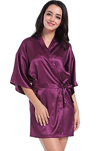 Angeltar Women's Satin Robe Short Kimono Robes Satin Lounge Bridesmaids Lingerie Sleepwear for Wedding Party