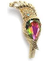 Aqua Brand Women's Gold-Tone Parrot with Multi-Color Faceted Rhinestone Brooch