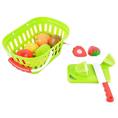 GlowSol 11-Piece Plastic Cutting Fruits Set with Basket Play Food Set for Pretend Play (Fireman Dress Up Accessory Kit)