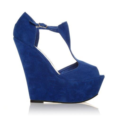 ShuWish UK ENYA Electric Blue Faux Suede Wedge Very High Heel Platform Peep Toes