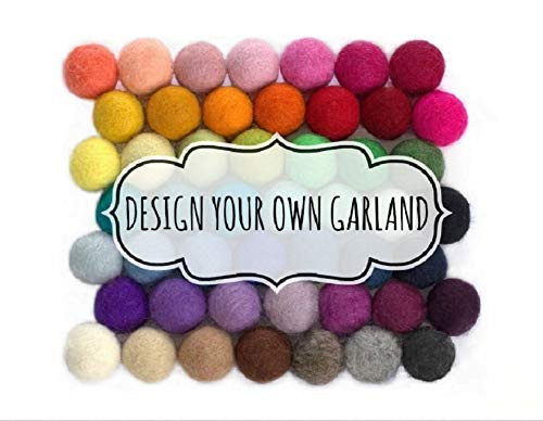 "B06XB3ZMW6 Design Your Own Felt Ball Garland- 1"" (2.5 cm) Wool Felt Balls 41q6q8wpLML"