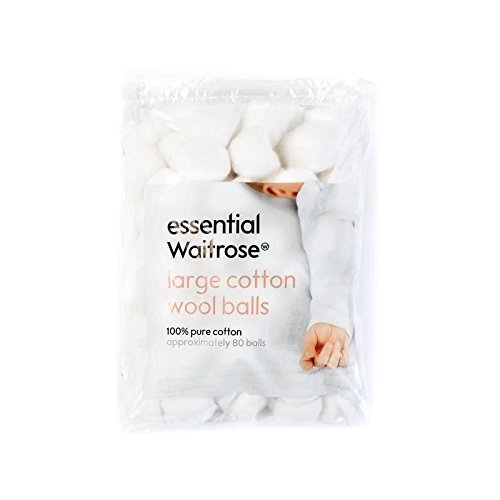 Baby Large Cotton Wool Balls essential Waitrose 80 per pack - Pack of 2