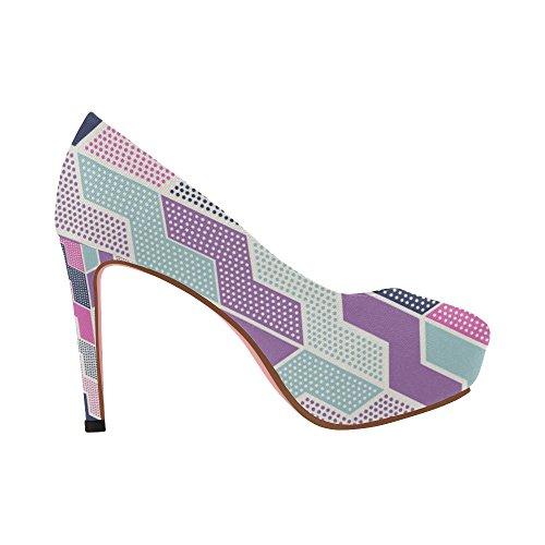 Heel Size Pumps On Colorful 5 InterestPrint Pattern Shoes High Prin Geometry Womens Ethnic Color3 11 Graffiti Wedge ETOwF4gWxq