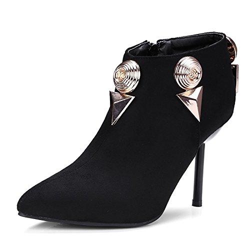 WIKAI Women's Heels Light Soles Leatherette Fall Wedding Zipper Stiletto Heel Gray Black 3in-3 3/4in,Gray,US8.5/EU39/UK6.5/CN40